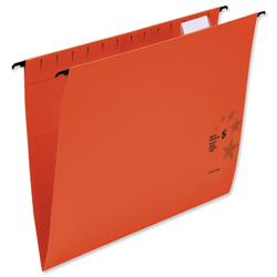 5 Star Office Suspension Files Manilla Wrapover Bar Tabs and Inserts Foolscap Red [Pack 50]