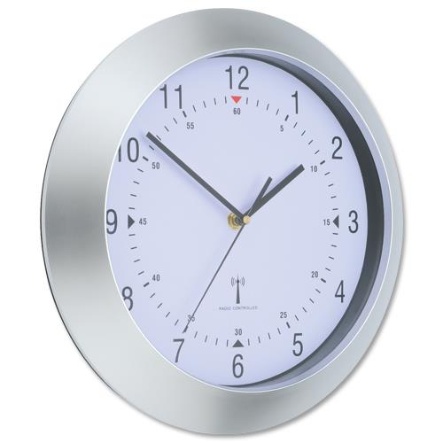 Wall Clock Radio Controlled Diameter 300mm Grey