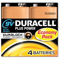 Duracell Plus Battery Alkaline 9V Ref 75052875 - Pack 4