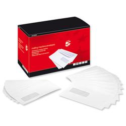 5 Star Mail Machine Envelopes Window Gummed 90gsm 238x162mm C5 White [Pack 500]