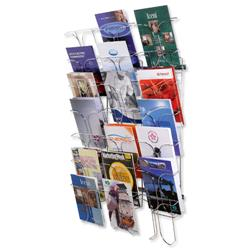 Wall Literature Holder Wire 21 Pockets Chrome