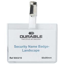 Durable Security Landscape Name Badges with Rotating Clip 60x90mm Ref 8003 - Pack 25
