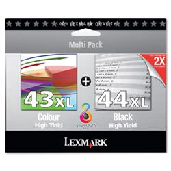 Lexmark No. 43XL/44XL Inkjet Cartridge Page Life 500/500pp Black/Colour Ref 80D2966 - Pack 2