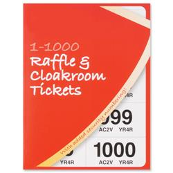 Cloakroom or Raffle Tickets Numbered 1-1000 Assorted Colours - Pack 6