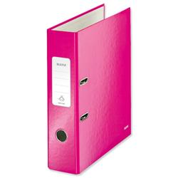 Leitz WOW Lever Arch File 80mm Spine for 600 Sheets A4 Pink Ref 10050023 - Pack10 - Claim Free Gifts with Leitz
