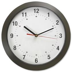 Wall Clock with Coloured Case Diameter 300mm Dark Grey