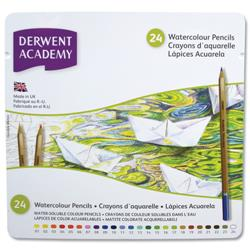 Derwent Academy Watercolour Pencils High-quality Pigments Assorted Ref 2301942 - Pack 24