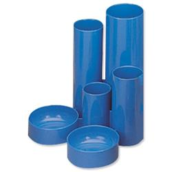 5 Star Office Desk Tidy with 6 Compartment Tubes Blue