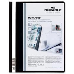 Durable Duraplus Quotation Filing Folder PVC with Clear Title Pocket A4 Black Ref 2579/01 - Pack 25