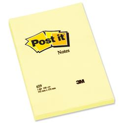 Post-it Notes Large Plain Pad of 100 Sheets 102x152mm Canary Yellow Ref 659YE - Pack 6