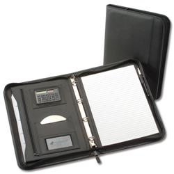 5 Star Zipped Conference 4 Ring Binder with Calculator Capacity 25mm W260xH362mm A4 Black