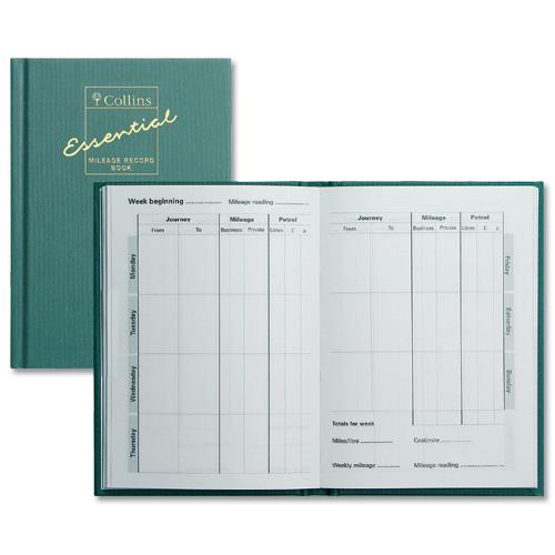buy collins mileage record book 60 pages 104x149mm green ref mrb1