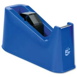 5 Star Office Tape Dispenser Desktop Weighted Non-slip Roll Capacity 25mm Width 66m Length Blue