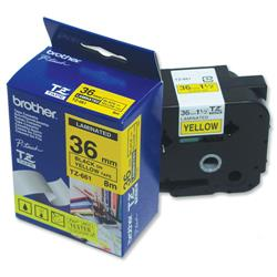 Brother P-touch TZE 661 Black on Yellow 36mm x 8m TZE Tape Label Ref TZE661