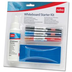 Nobo Whiteboard Starter Kit of Drywipe Eraser and 125ml Cleaner and 3 Drymarkers Assorted Ref 34438861