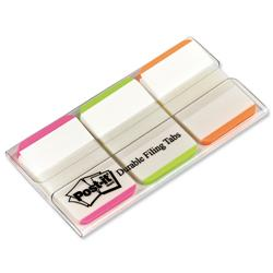 Post-It Index Tabs Lined Strong 25mm Assorted Pink Bright-green Orange Ref 686L-PGO - Pack 66