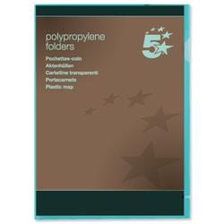 5 Star Office Folder Cut Flush Polypropylene Copy-safe Translucent 120 Micron A4 Green [Pack 25]