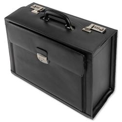 Alassio Ferrara Pilot Case Leather Laptop Compartment 2 Combination Locks Black Ref 45045