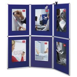 Nobo Pro-Panel Display and Bag 6 Panels Blue Fabric and Dry White Sides 12kg W2250xH2020mm Ref 1901169