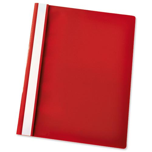 esselte report flat file lightweight plastic clear front a4 red ref