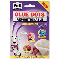 Pritt Glue Dots Acid-free on Backing Paper Repositionable 64 per Wallet Ref 1444965 [Pack 12]