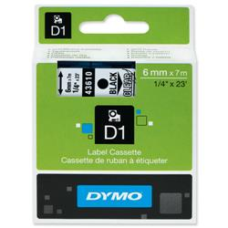 Dymo D1 Tape for Electronic Labelmakers 6mmx7m Black on Clear Ref 43610 S0720770