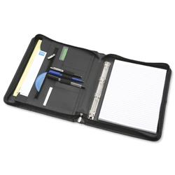 5 Star Elite Organiser with Detachable Ring Binder Leather Zipped 4 Ring Capacity 20mm A4 Black