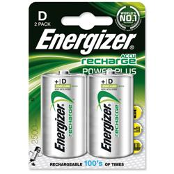Energizer Battery Rechargeable Advanced Size D 1.2V NiMH 2500mAh HR20 Ref 626149 - Pack 2