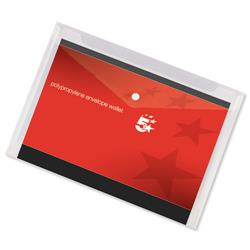 5 Star Office Envelope Wallet Polypropylene A4 W235mmxD335mm Transparent Clear [Pack 5]