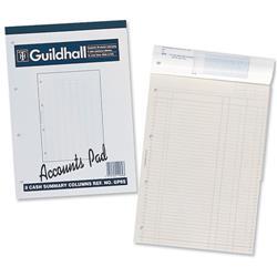 Guildhall Account Pad 6 Cash Column Ruled 41 Feint 60 Leaf A4 Ref GP6Z