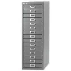Bisley 15-Drawer SoHo Multidrawer Steel Storage Cabinet W279xD380xH860mm Silver Ref 089 55