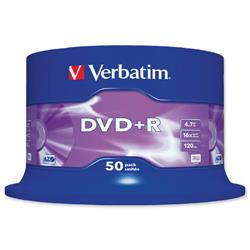 Verbatim DVD+R Matt Silver Recordable Disk Write-once Spindle 16x Speed 120min 4.7Gb Ref 43550 - Pack 50