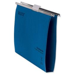 Leitz Ultimate Suspension File Recycled with Tabs Inserts 30mm Foolscap Blue Ref 17450035 - Pack 50