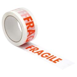 Printed Tape Fragile Polypropylene 50mmx66m Red on White - Pack 6