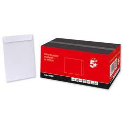 5 Star Office Envelopes Pocket Peel and Seal 100gsm White C4 [Pack 250]