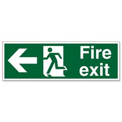Stewart Superior Fire Exit Sign Man and Arrow Left 600x200mm Self-adhesive Vinyl Ref NS001