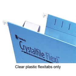 Rexel Crystalfile Flexifile Tabs Plastic For Suspension Files Clear Ref 3000057 - Pack 50