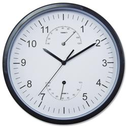 Wall Clock with Temperature and Hygrometry Dials Diameter 300mm Black/White