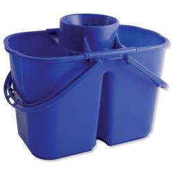 Duo Mop Bucket Colour Coded 7 and 8 Litre Sections Total 15 Litre Blue