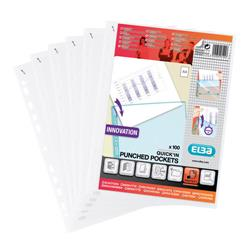 Elba Quick-in Punched Pocket Polypropylene Top-opening 70 Micron A4 Clear Ref 400012939 Pack 100