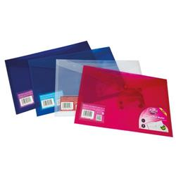 Concord Stud Wallet File Translucent Polypropylene Foolscap Clear Ref 6128-PFL (CLR) [Pack 5]