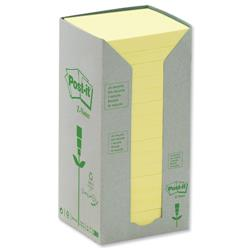Post-It Z-note Tower Recycled 100 Sheets per Pad 76x76mm Yellow Ref R330-1T - Pack 16