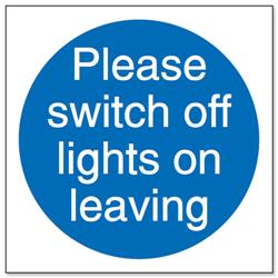 Stewart Superior Please Switch Off Lights Self Adhesive Sign Ref M013SAV