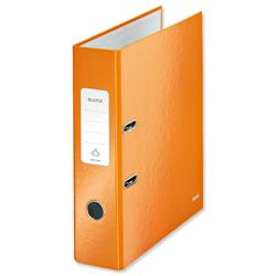 Leitz WOW Lever Arch File 80mm Spine for 600 Sheets A4 Orange Ref 10050044 - Pack10 - Claim Free Gifts with Leitz