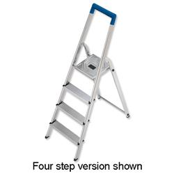 Image of Folding Aluminium Ladder 3 Non Slip Ribbed Steps 3.3kg