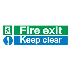 Stewart Superior Fire Exit Sign Keep Clear 600x200mm Self-adhesive Vinyl Ref SP055SAV