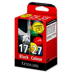 Lexmark No. 17 and No. 27 Inkjet Cartridge Page Life 205/104pp Black/Colour Ref 80D2952 - Pack 2