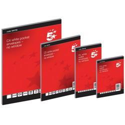 5 Star Office Envelopes Wallet Self Seal 80gsm White DL Retail Pack [Pack 50]