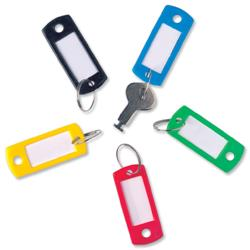 5 Star Facilities Key Hanger Standard with Fob Label 50x22mm Assorted [Pack 100]