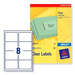 Avery J8565 Clear Inkjet Labels 99.1x67.7mm 8-label sheets Ref J8565-25 - 25 Sheets